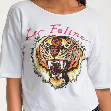 Feline Chain-ge Graphic Crop Top