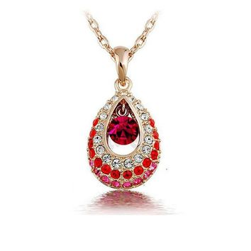 Hottest gold-color Teardrop Crystal Necklace Jewelry Colorful Crystal Rhinestone Necklace Cheap Jewelry collar de cristal