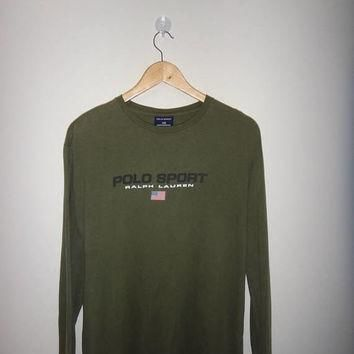 Hot sale 30% off rare Vintage Polo Sport Long Sleeve Polo Ralph Lauren Green Army US F