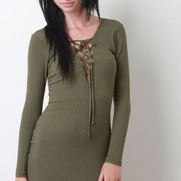 Ribbed Lace Up Long Sleeve Dress