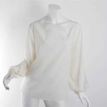 Ralph Lauren Black Label Ivory Silk Boat Neck Open Sleeves Top Blouse Size M