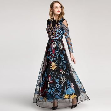 2018 European Style High Quality New Retro Dress Colourful Embroidered Gauze Hollow-out Long Sleeved Floor Length Maxi Dresses