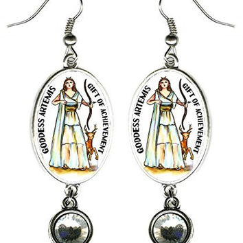 "Goddess Artemis for Achievement Silver Rhinestone 2 1/2"" Earrings"