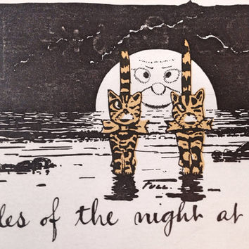 """Halloween Postcard Unused / Antique Postcard Two Cats and Full Moon with Face / """"Tales of the Night"""""""