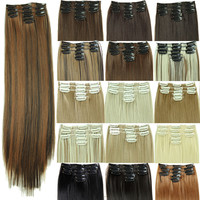 "5pcs/set Heat Resistant Hair Pad Hairpiece 23"" 11 Clips in Hair Extension Cheap Synthetic Long Straight False Hair Extensions"