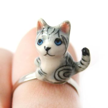 Porcelain Ceramic Detailed Kitty Cat Animal Adjustable Ring with Long Tail | Handmade