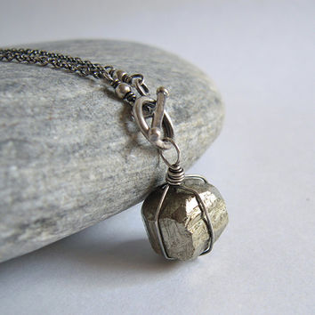 Pyrite Necklace, Rough Stone Pendant, Toggle Clasp Sterling Silver Chain, Rustic Wire Wrapped Jewelry