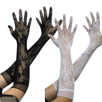 2017 Sexy amorous feelings Transparent lace hollow out super elastic gloves