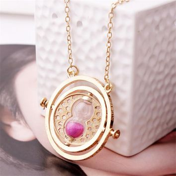 Vintage Rotating Horcrux Harry Potter Time Turner Necklace Time Converter Time Pendant Necklace For Woman Man Jewelry Gift