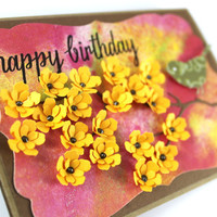Happy Birthday - Handmade Card - Yellow flowers - Tie Dye Card