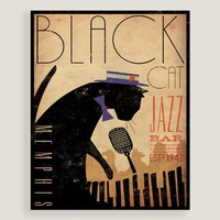 Black Cat Jazz Bar Wall Art