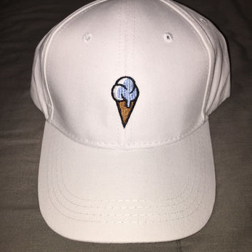 Unisex Vintage WHITE ICE CREAM Baseball Cap Low Profile Dad Hats Baseball Hat Embroidery White