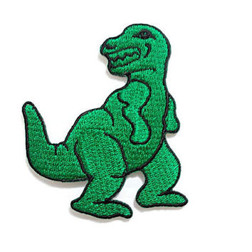 Green Tyrannosaurus Rex - T Rex - Jurassic Dinosaur Prehistoric New Sew / Iron On Patch Embroidered Applique Size 6cm.x6.9cm.