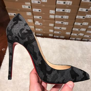 NIB Christian Louboutin Pigalle Follies 100 Black Grey Fusain Camo Pump Heel 35