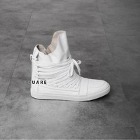Mens Mummy Laced-Up Assche Leather Hightop Sneakers at Fabrixquare