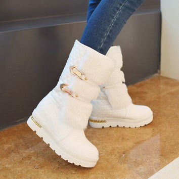 On Sale Hot Deal Wedge Stylish Metal Shoes With Heel White Black Plus Size Boots [9432960842]