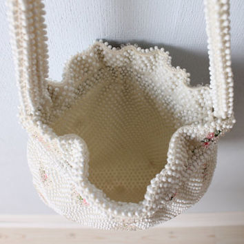 SALE Vintage 1950s Purse / Corde Beaded Handbag / White Handbag / Sweet Pea