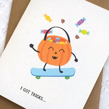 Funny Halloween Card - Cute Halloween Card, Skateboarding Pumpkin, Recycled Card