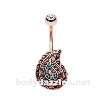Rose Gold Boho Paisley Turquoise Belly Button Ring 14ga Navel Ring