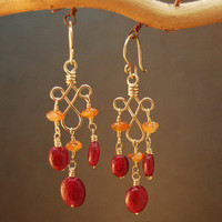 Gypsy 47 Carnelian and ruby on hammered curled earrings