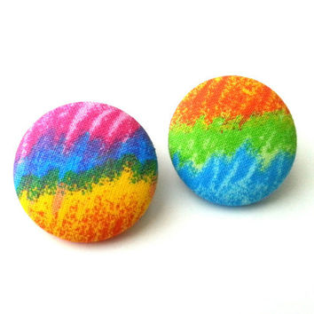 Hippie tie dyed rainbow scribbles fabric button earrings