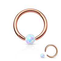 White Fire Opal Rose Gold Captive Bead Ring