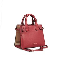 ONETOW Tote Bag Handbag Burberry The Baby Banner in Leather and House Check Ink Russet Red Item 40140751
