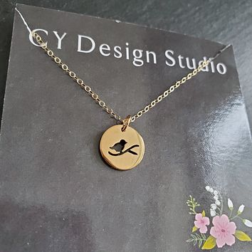 Dainty Bird Cut Out Necklace