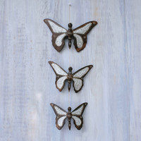 Handmade Wooden Butterfly Trio - Wall Hanging