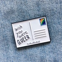 """Wish You Were Queer"" Rainbow Postcard Lapel Pin"