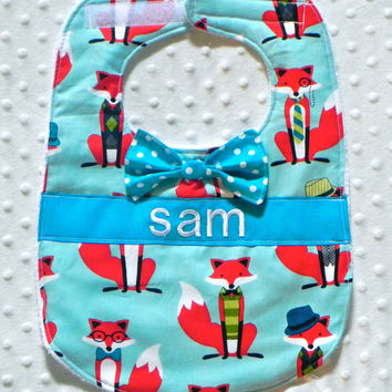 Personalized Bib with Dapper Bow Tie - Baby Boy Aqua Teal and Red Fox