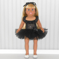American Girl Doll Clothes Black Dance Outfit with Ruffled Leotard and Tutu fits 18 inch dolls