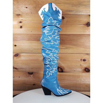 9bff2b2c4e2 CR Kelsey 21 Rock Star Blue   White Western Slouch OTK Thigh Hig. Western  Over The Knee Boots pointed ...