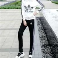Adidas Autumn Clothes  Unisex Fashion Simple Stripe Hooded Cotton Sweater Print Pattern Two-Piece Suit Clothes