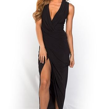 Lucia Black Long Asymmetrical Draped Sleeveless Dress