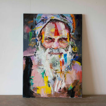 "Sadhu (Holy Man), Original Painting, 25"", Worldwide Shipping, Art, Palette knife, Abstract, Portrait, Richard Day"