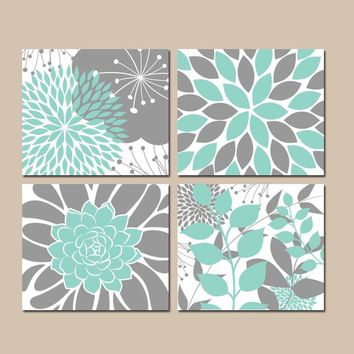 AQUA Gray Bedroom Wall Decor, CANVAS or Prints, Floral Wall Art, Flower Aqua Bathroom Decor, Succulent KITCHEN Wall Art, Set of 4 Home Decor