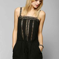 Pins And Needles Lace-Trim Gauze Romper-