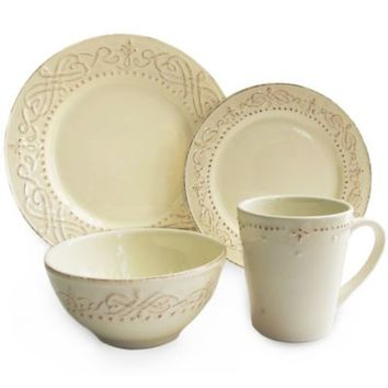 American Atelier Adriana 16-Piece Dinnerware Set in Cream