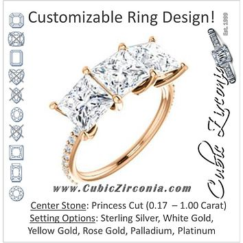 Cubic Zirconia Engagement Ring- The Mary Helen (Customizable Triple Princess Cut Design with Ultra Thin Pavé Band)