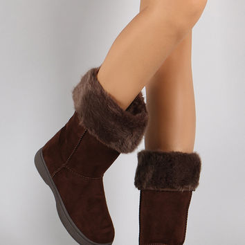Bamboo Suede Fur Cuff Mid Calf Flat Boots