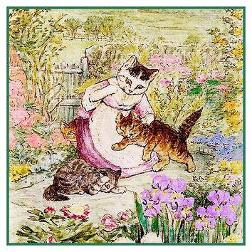 Mama Spanks Tom Kitten inspired by Beatrix Potter Counted Cross Stitch or Counted Needlepoint Pattern