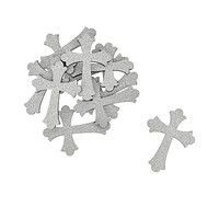 Small Glitter Wooden Cross Cut-Outs, 1-3/4-Inch, 10-Piece, Silver