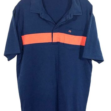 Travis Mathew Blue Orange Striped Front Pocket 4 Buttons Golf Polo Shirt Mens L - Preowned