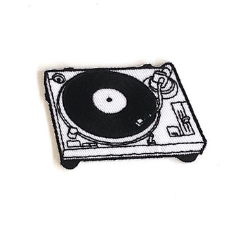 Record Player Phonograph Turntable Iron on Patch Size 6.5 x 4.2 cm