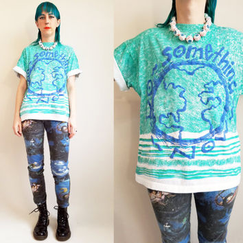 90s Tshirt Vintage Tshirt 90s Clothing Earth Tshirt Vintage Camp Tshirt Aqua Tshirt Do Something Now Eco Tshirt Earth Top Size Medium/ Large