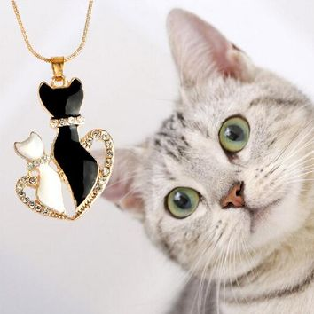 Cute white black gold color Snake Chain kitty cat pendant necklace half heart crystal cat shadow necklace for women lovely gift