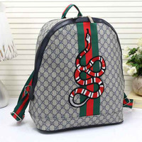 Gucci Women Leather Snake Pattern Shoulder Bag Daypack Backpack
