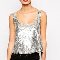 Silver  Sleeveless Sequined  Cropped Tank Top