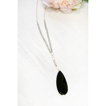Sunburst Stone and Pearl Necklace | Black